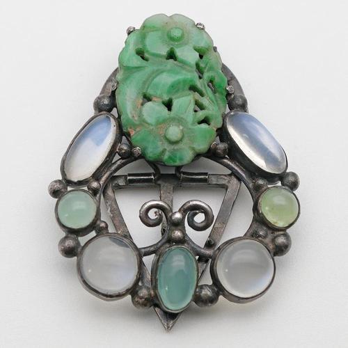 Arts & Crafts Dorrie Nossiter Clip, Rare Jade, Moonstone & Chrysoprase (1 of 3)