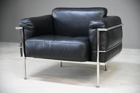 LC1 Black Leather & Chrome Armchair (1 of 13)