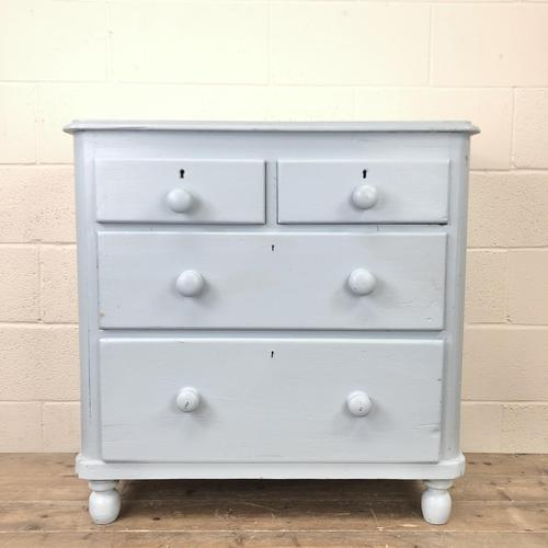 Small Victorian Blue Pine Painted Chest of Drawers (1 of 11)