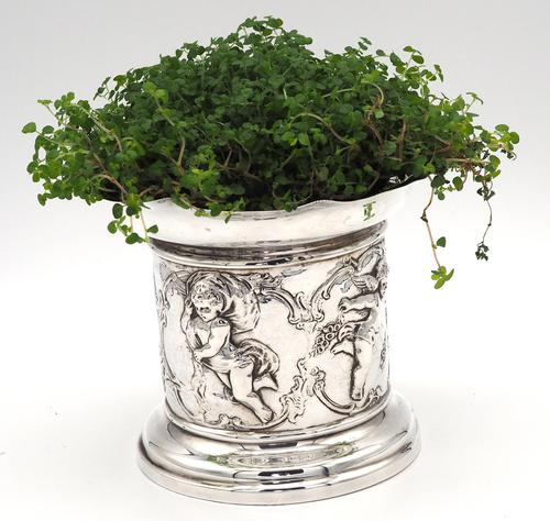 Flared Top Silver Plant Pot with Cherub Decoration - London 1898 (1 of 7)