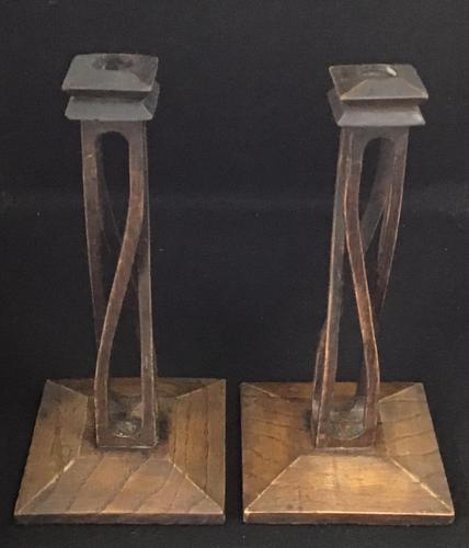 Pair of Scottish Arts and Crafts Oak Open Twist Candlesticks. (1 of 1)