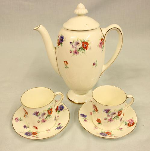Antique Royal Doulton Trixy Pattern Coffee Pot & Two Coffee Cans (1 of 6)