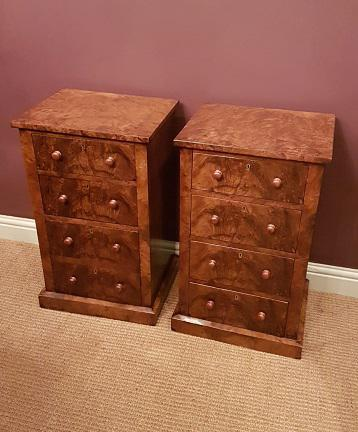 Superb Pair of Antique Burr Walnut Bedside Chests (1 of 6)