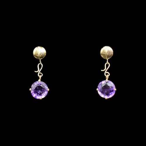 Vintage Natural Amethyst 9ct 9K Yellow Gold Drop Earrings (1 of 7)