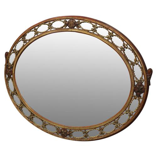 Gilded Walnut Oval Overmantel Mirror (1 of 11)