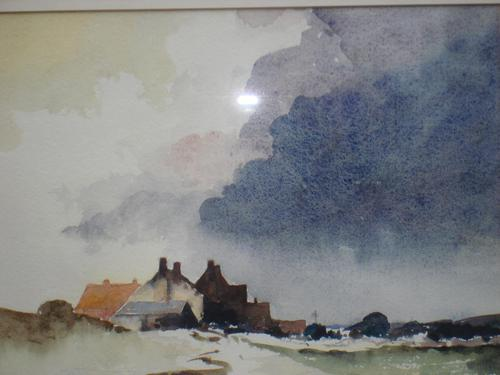David Gapper Watercolour: Country Buildings Under Storm Clouds (1 of 2)