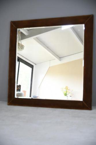 Large Vintage Square Bronze Velvet Mirror (1 of 12)