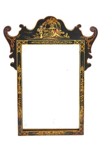 Chinoiserie Decorated Small Wall Mirror c.1920 (1 of 2)