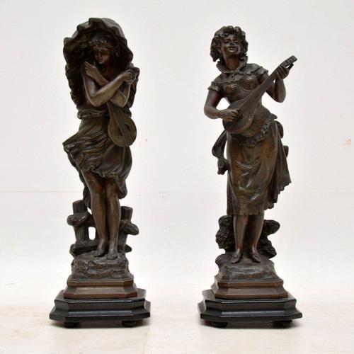 Pair of Antique Victorian Spelter  Figurines (1 of 9)