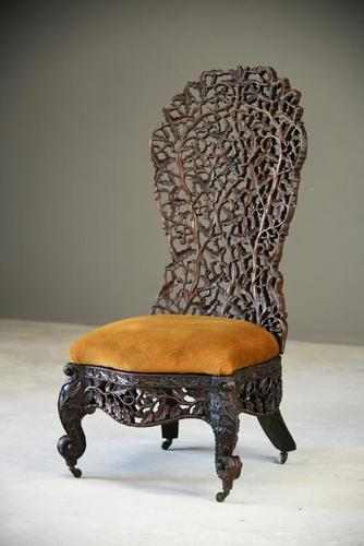 Carved Anglo Indian Chair (1 of 12)