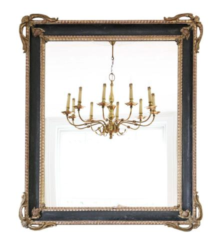 Large Gilt and Black 19th Century Overmantle or Wall Mirror (1 of 8)