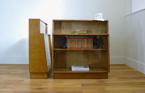 Bespoke Vintage 1940s Tiger Oak Glazed Bookcase 1 Remaining (1 of 14)
