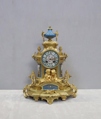 French Napoleon III Bronze Gilt and Porcelain Mantel Clock by Japy Freres (1 of 11)