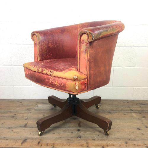 Antique Distressed Leather Swivel Armchair (1 of 8)