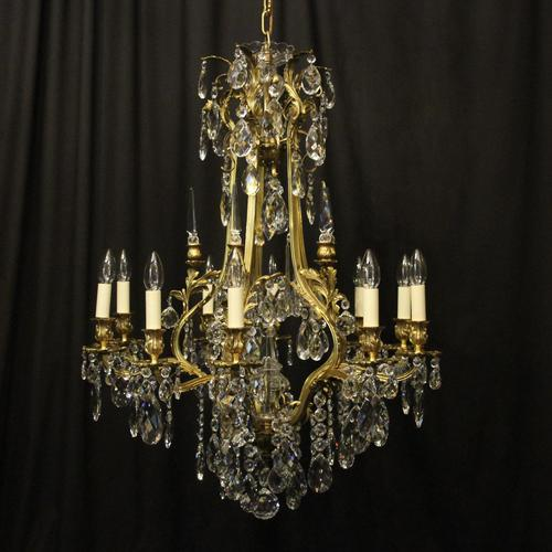 French Gilded Bronze & Crystal Antique Chandelier (1 of 10)