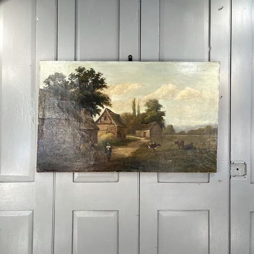 Antique Landscape Oil Painting of Farm Buildings with Cows Signed WP Cartwright 1892 (1 of 10)
