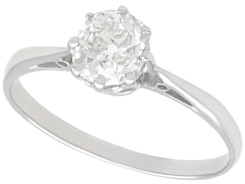1.00ct Diamond & Platinum Solitaire Ring - Antique c.1920 (1 of 9)