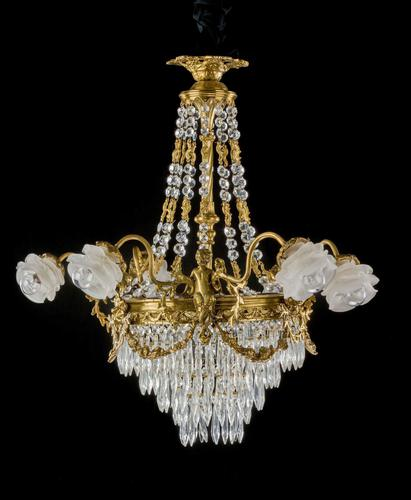 A Late 19th Century Gilt Bronze and Cut Glass Six Arm Chandelier (1 of 6)