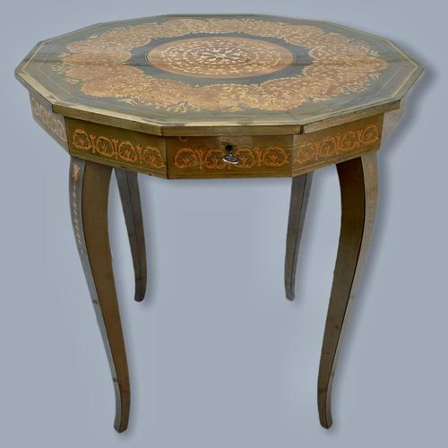 Italian Dodecagon Marquetry Musical Side Table (1 of 8)