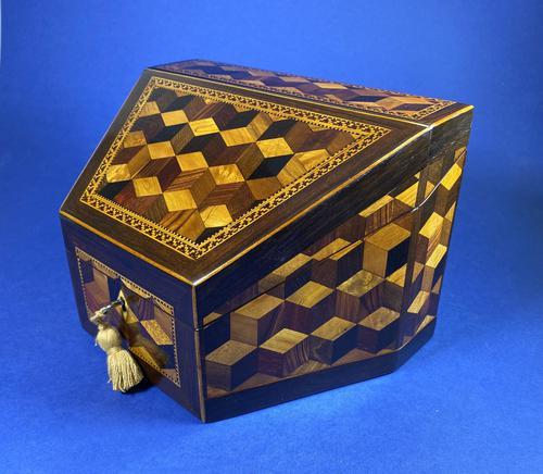 Victorian Tunbridge Ware Stationery Box (1 of 9)