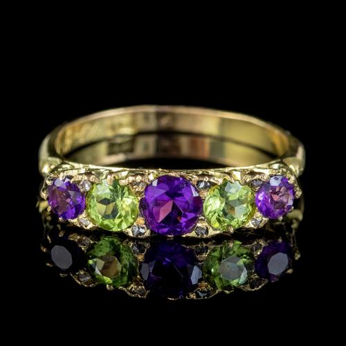Antique Edwardian Suffragette Ring Amethyst Peridot Diamond 18ct Gold c.1904 (1 of 5)