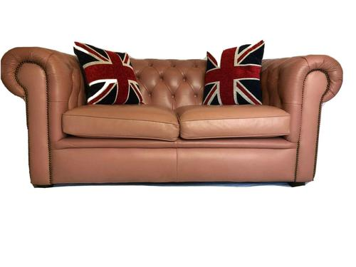 Fine English Vintage 20th Leather Chesterfield Sofa 2 Seater Ladies Pink (1 of 12)