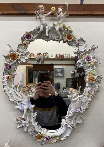 Beautiful Large Sherholtz, Dresden Porcelain Mirror (1 of 5)