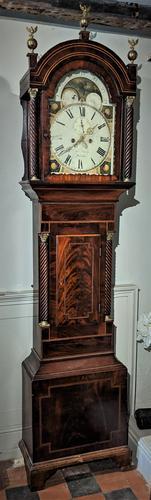 19th Cent Mahogany Moon Dial Longcase Grandfather Clock (1 of 5)