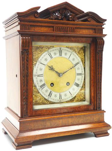 Wow! Superb Antique German Burr Walnut 8-Day Mantel Clock Striking Bracket Clock by Lenzkirch (1 of 10)