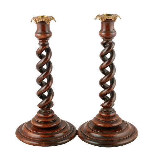 Pair of Walnut Spiral Candlesticks (1 of 7)