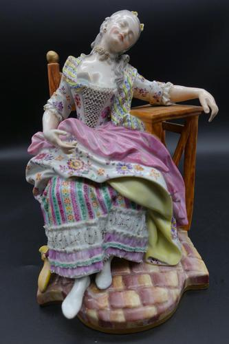 Fine Late 19th Century Meissen Model of a Seated Young Lady (1 of 4)