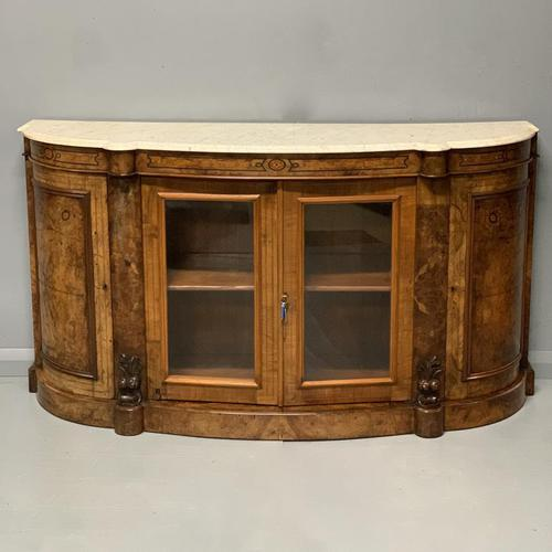 English burr walnut Credenza with Carrara marble top (1 of 10)