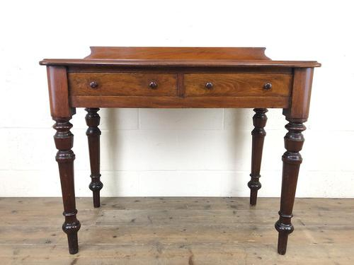 Antique Victorian Mahogany Two Drawer Side Table (1 of 15)