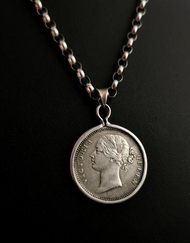 Victorian Silver Coin Pendant, Necklace, 1840 Indian Rupee (1 of 12)