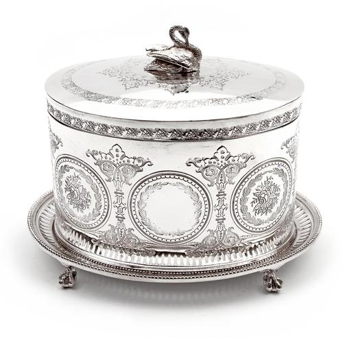 Victorian Henry Wilkinson Oval Silver Plated Biscuit Box (1 of 6)