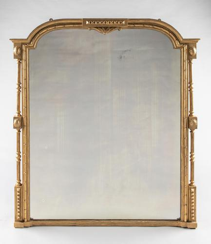 Lovely Large Victorian English Gilt Overmantle Mirror (1 of 6)