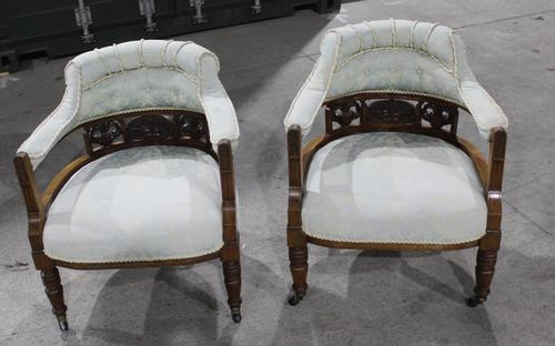 1920s Pair of Mahogany Salon Armchairs in Pale Upholstery (1 of 3)