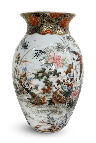 Meiji Period Kutani Vase Decorated with Water Birds (1 of 5)
