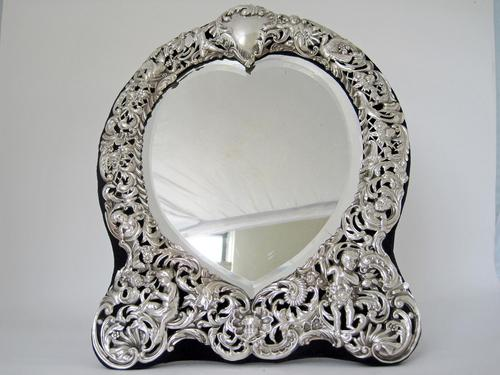 William Comyns Victorian Heart Shaped Silver Dressing Table Mirror (1 of 8)