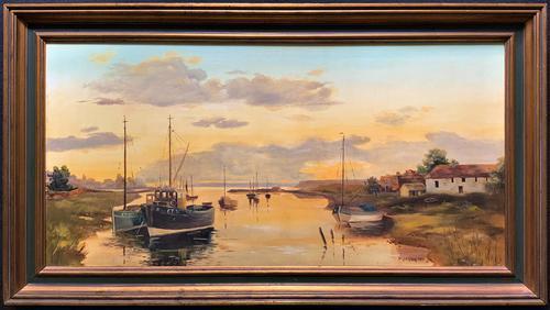 'the Estuary At Sundown' A Large Superb Original Vintage Seascape Oil Painting (1 of 12)