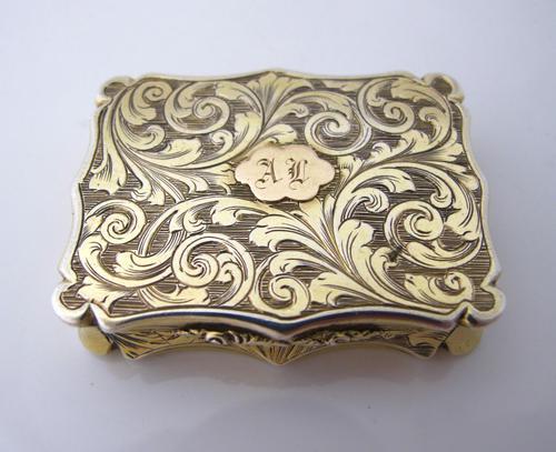 Superb Silver-gilt Vinaigrette Nathaniel Mills Birmingham 1844 (1 of 8)
