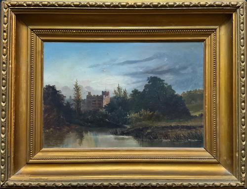 Lovely Original Mid 19th Century Antique British Castle River Landscape Oil Painting (1 of 11)