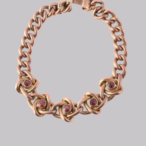 Victorian Garnet Knot & Curb Link 9ct Gold Bracelet with Antique Box c 1890 (1 of 11)