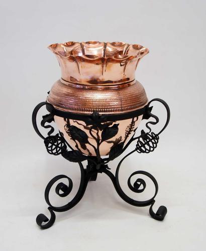 Art Nouveau  Wrought Iron and Copper Planter, Jardinière (1 of 16)