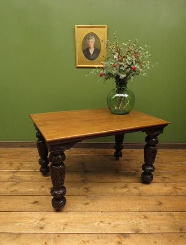 Antique Victorian Gothic Oak & Mahogany Dining or Hall Table Heavily Carved Legs (1 of 13)