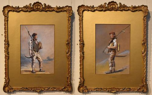 """Oil Painting Pair by H.T Dennis """"Somerset Labourers"""" (1 of 8)"""