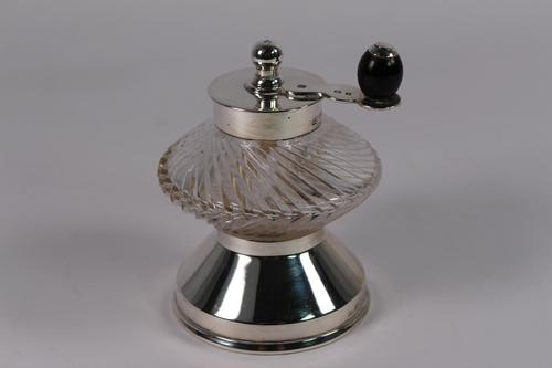 Edwardian Silver Mounted Cut Glass Pepper Mill (1 of 4)