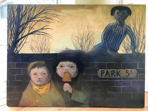Original oil on board 'Park Street' by KB. Initialled and dated 11.56 (1 of 6)