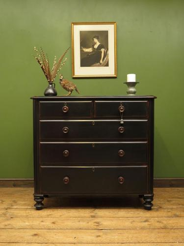 Antique Painted Black Chest of Drawers (1 of 16)