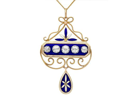 1.89ct Diamond and Enamel, 15ct Yellow Gold & Silver Pendant - Antique Victorian (1 of 12)